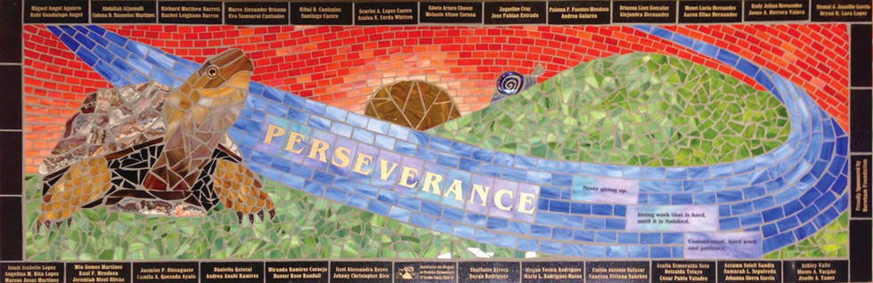 Student-designed mosaic turtle bench at Perkins Elementary School