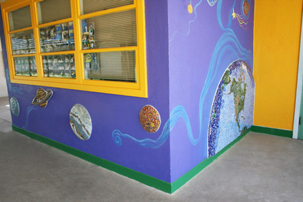 Mosaic world mural at Hedrick Elementary School