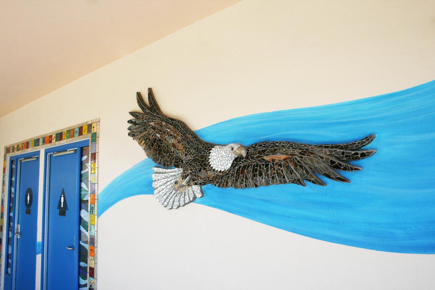 Mosaic eagle logo at Harding Elementary School