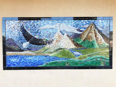 Mosaic eagle mural at Perkins Elementary School