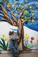 Mosaic tree mural at Euclid Elementary School