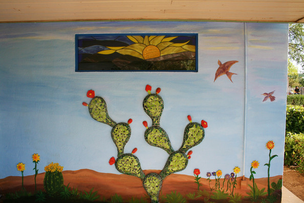 Mosaic cactus mural at Desert Garden Elementary School
