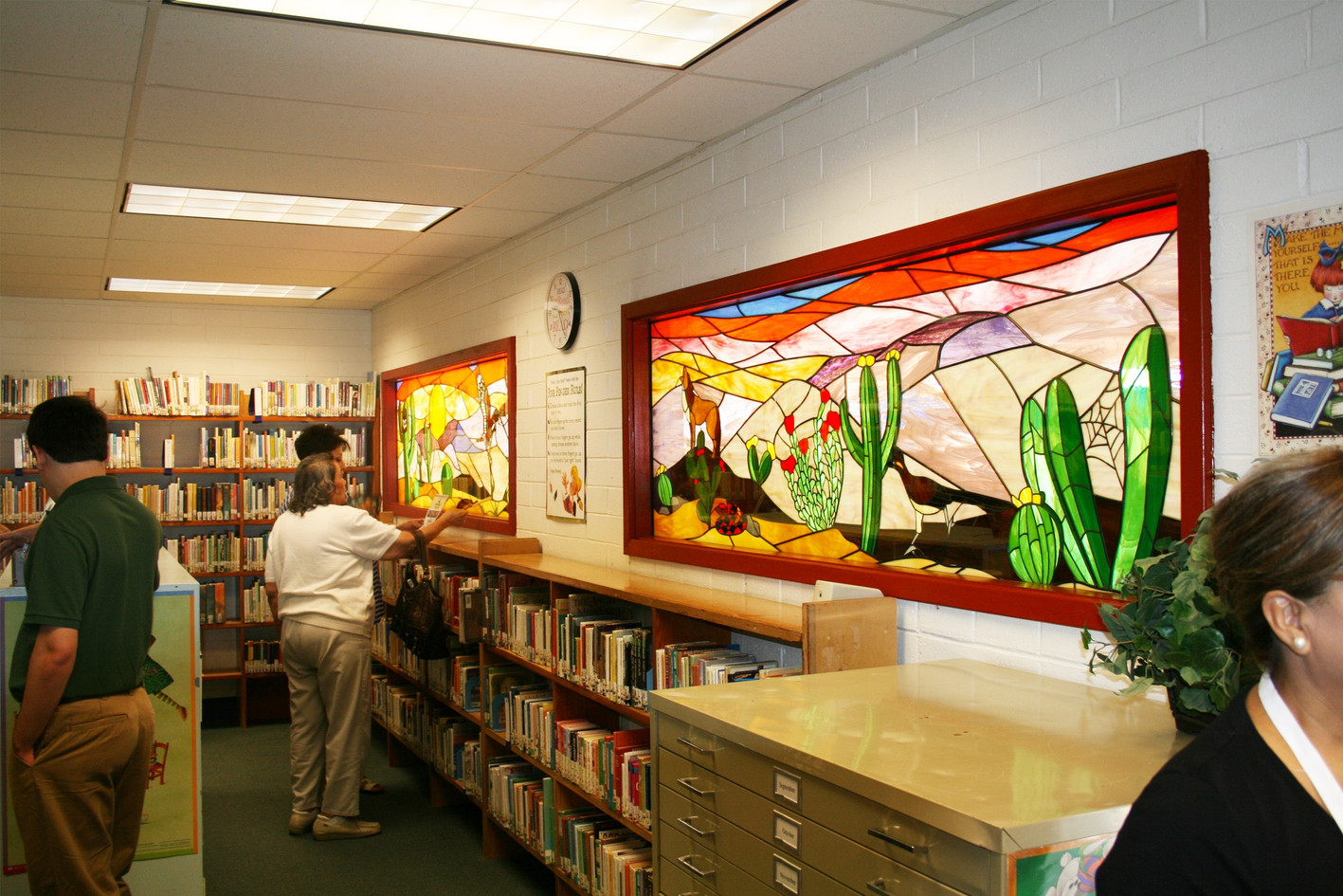 Colorful stained glass desert mosaic at the Seeley Elementary School library