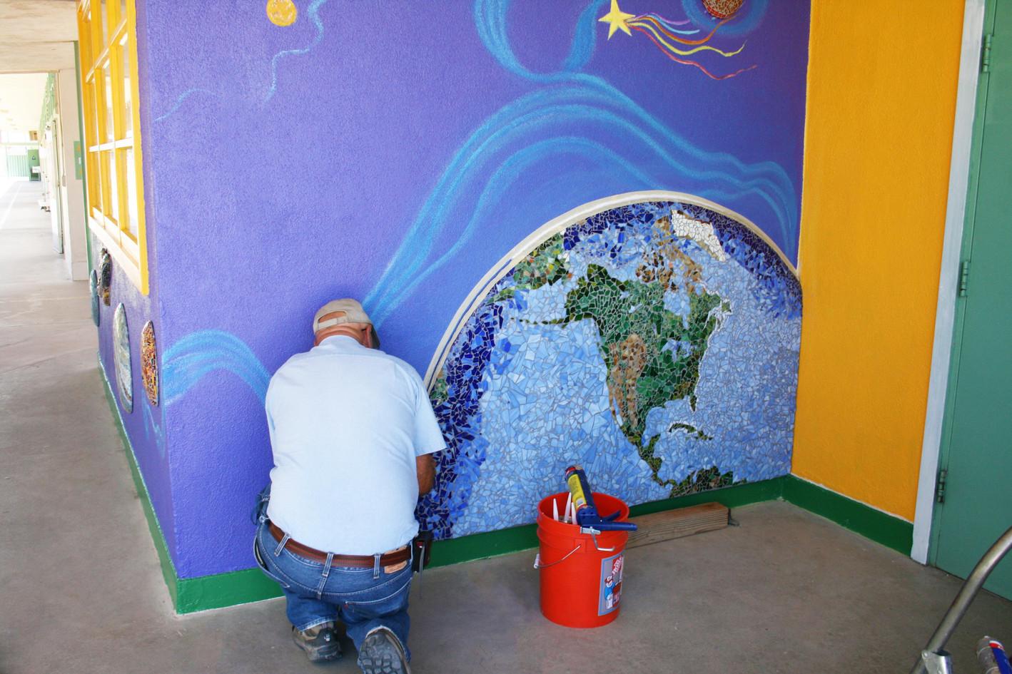 Mosaic world mural at Hedrick Elementary School