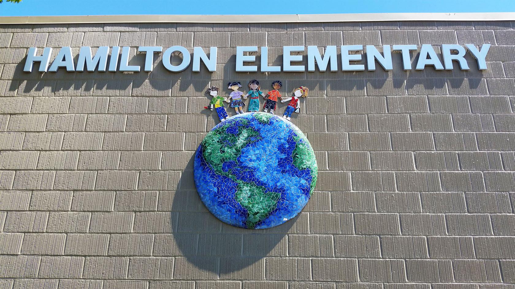 Mosaic entrance at Hamilton Elementary School in San Diego
