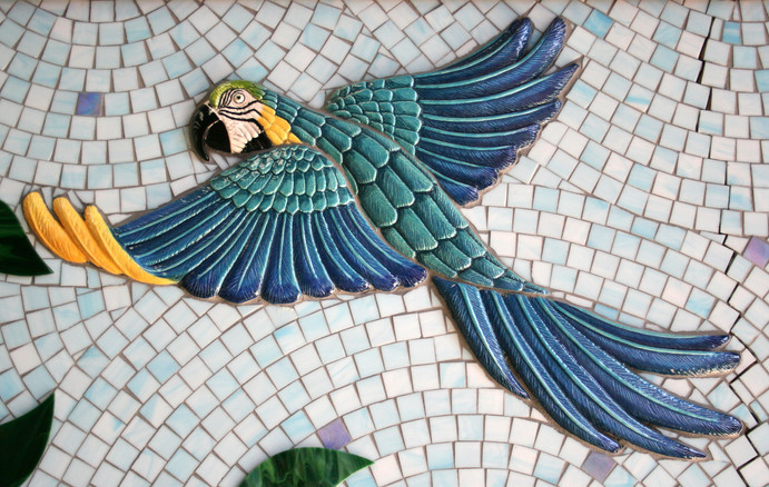 Colorful mosaic parrot at the Family Justice Center