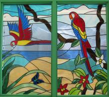 Beatiful stained glass children's rainforest at Kaiser Permanente