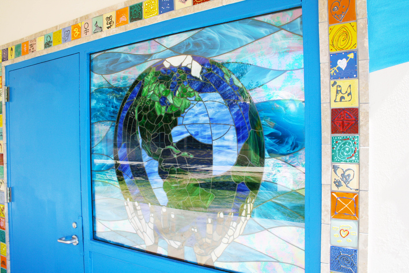 Stained glass mosaic world at Harding Elementary School