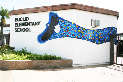 Mosaic eagle mural at Euclid Elementary School