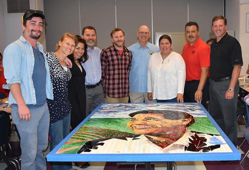 Mosaic Cesar Chavez portrait at Cesar Chavez Elementary School