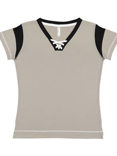 LAT - Ladies' Lace Up Fine Jersey Tee - 3533