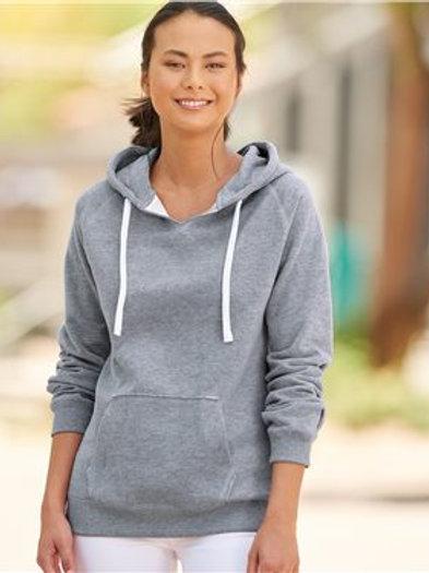 J. America - Women's Sueded V-Neck Hooded Sweatshirt - 8836