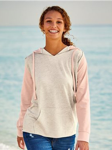 MV Sport - Women's French Terry Hooded Pullover with Colorblocked Sleeves - W201