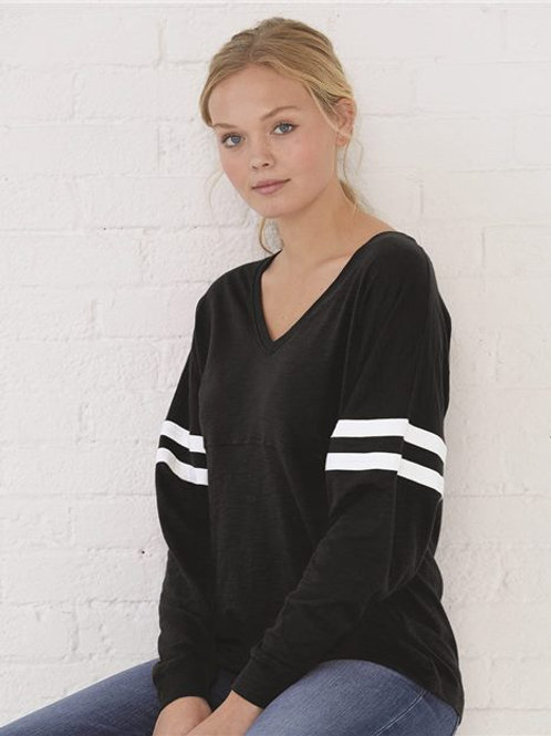 Boxercraft - Women's Slub Jersey Varsitee V-Neck Long Sleeve T-Shirt - T17