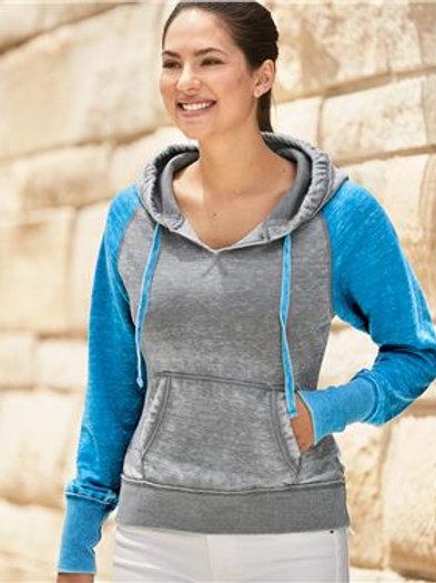 J. America - Women's Zen Fleece Raglan Hooded Sweatshirt - 8926