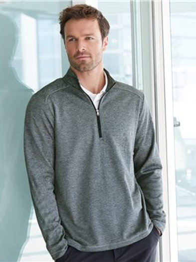 Adidas - Brushed Terry Heathered Quarter-Zip Pullover - A284