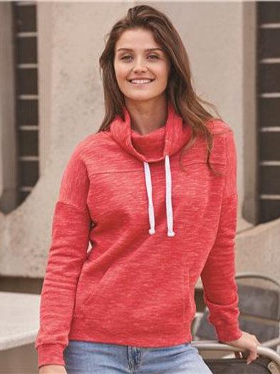 J. America - Women's Mélange Fleece Cowl Neck Sweatshirt - 8673
