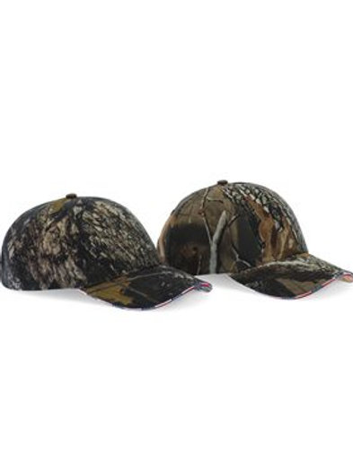Kati - Camouflage Cap with American Flag Sandwich Bill - LC924