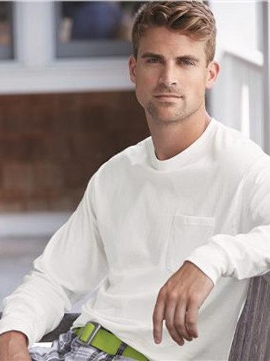 Hanes - Tagless Long Sleeve T-Shirt with a Pocket - 5596