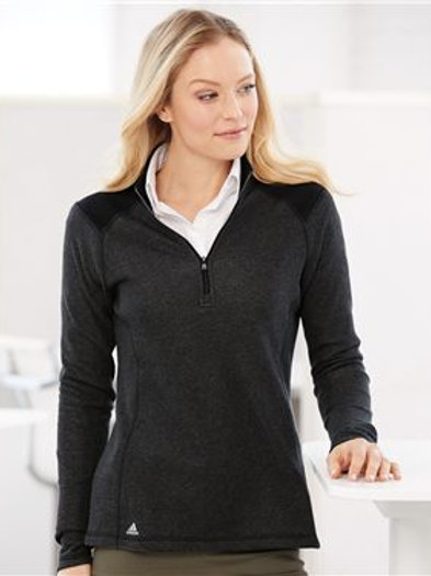 Adidas - Women's Heathered Quarter Zip Pullover with Colorblocked Shoulders - A4