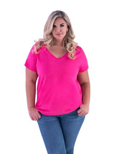 LAT - Curvy Collection Women's V-Neck Tee - 3807