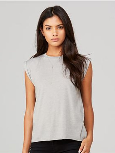 BELLA + CANVAS - Women's Flowy Rolled Cuffs Muscle Tee - 8804