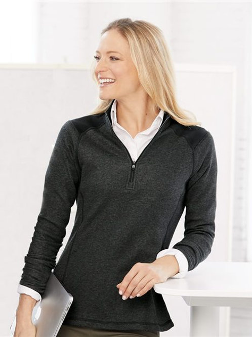 Adidas - Women's Heathered 1/4 Zip Pullover with Colorblocked Shoulders - A464