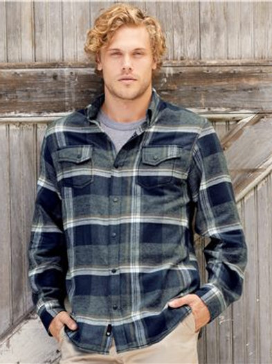 Burnside - Snap Front Long Sleeve Plaid Flannel Shirt - 8219