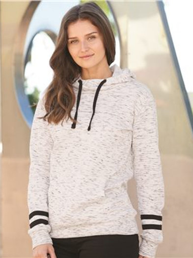 J. America - Women's Mélange Fleece Striped-Sleeve Hooded Sweatshirt - 8674
