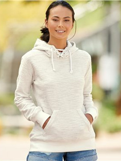 J. America - Women's French Terry Sport Lace Scuba Hooded Pullover - 8694