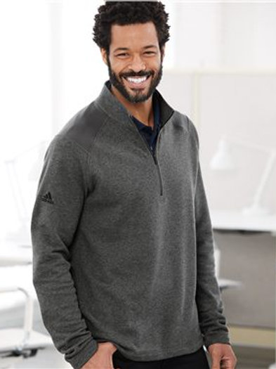 Adidas - Heathered Quarter Zip Pullover with Colorblocked Shoulders - A463