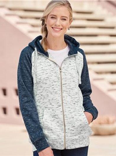 J. America - Women's Mélange Fleece Colorblocked Full-Zip Sweatshirt - 8679