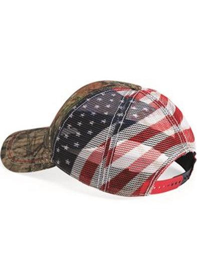 Outdoor Cap - American Flag Mesh Back Camo Cap - CWF400M