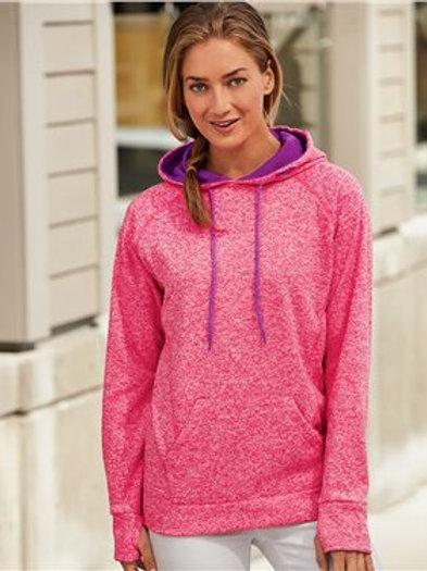 J. America - Women's Cosmic Fleece Contrast Hooded Pullover Sweatshirt - 8616