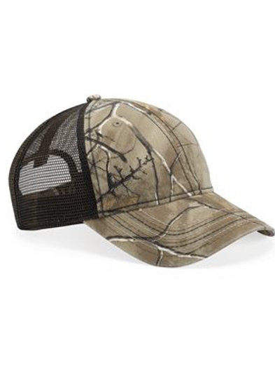 Outdoor Cap - Camo Cap with Mesh Back and American Flag Undervisor - CWF310