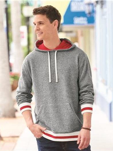 J. America - Peppered Fleece Lapover Hooded Sweatshirt - 8701