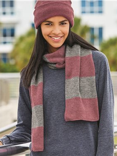 Sportsman - Rugby Striped Knit Scarf - SP02 Navy/Red-White/Heather Grey