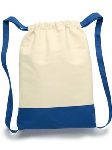 Liberty Bags - 11 Ounce Cotton Canvas Contrast Bottom Drawstring Backpack - 8876