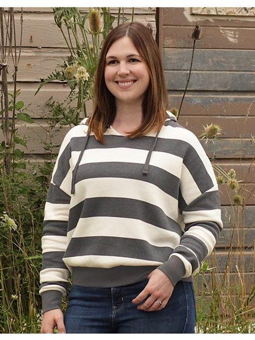MV Sport - Women's Striped Fleece Boxy Hooded Sweatshirt - W21721