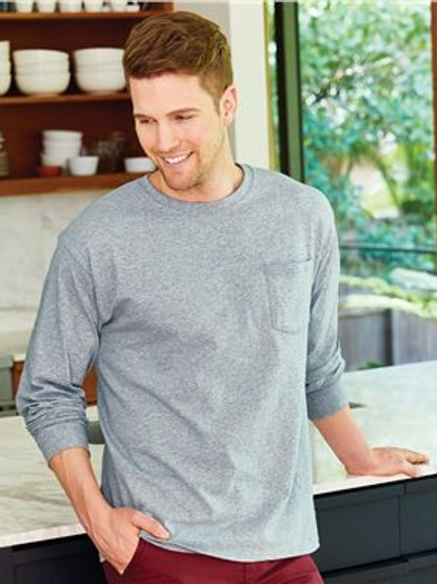Hanes - Authentic Long Sleeve Pocket T-Shirt - 5596