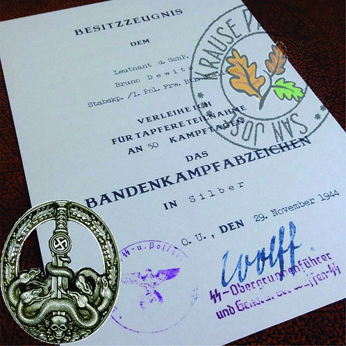 Customizable reproduction of award certificate for German Anti-Partisan Badge - Bandenkampfabzeichen - filled out version