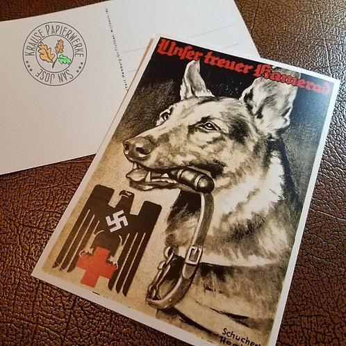 DRK Postcard with German Shepherd - reproduction from Krause Papierwerke (Deutscher Schäferhund DRK Postkarte)