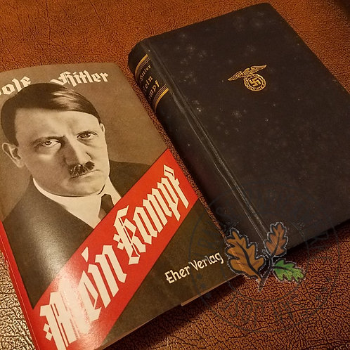 "Dust Jacket and Adolf Hitler's ""Mein Kampf"" side by side. Replacement dust jacket."