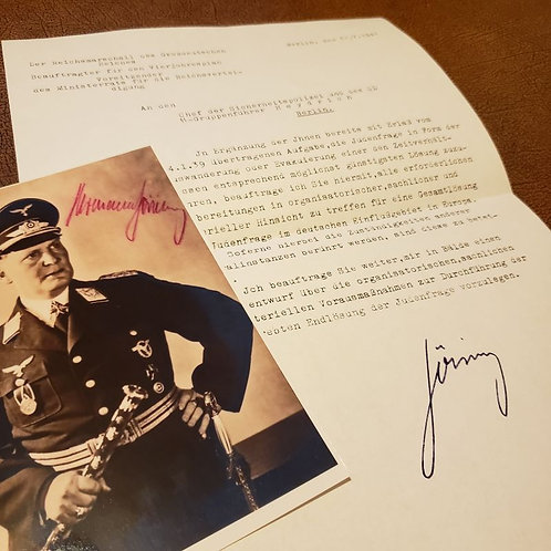 Hermann Goering's authorization for Reinhard Heydrich to plan for the Final Solution of the Jewish question with signed photo