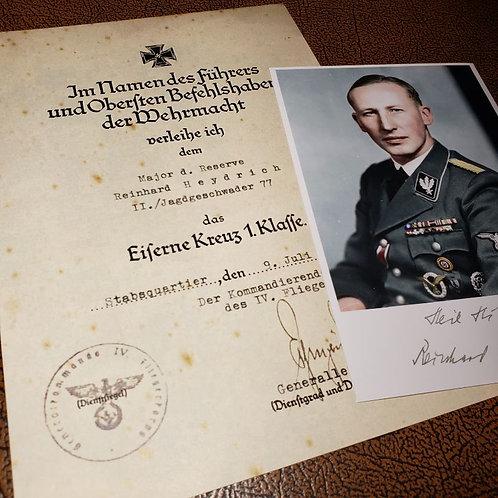 Iron Cross 1st Class - award certificate for Reinhard Heydrich signed by the Luftwaffe General Kurt Pflugbeil + signed photo