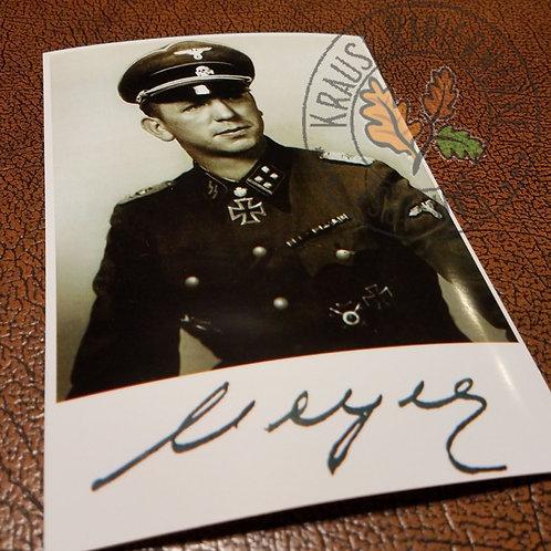 Kurt Meyer - signed photo of famous Waffen-SS commander (Hitlerjugend Division)