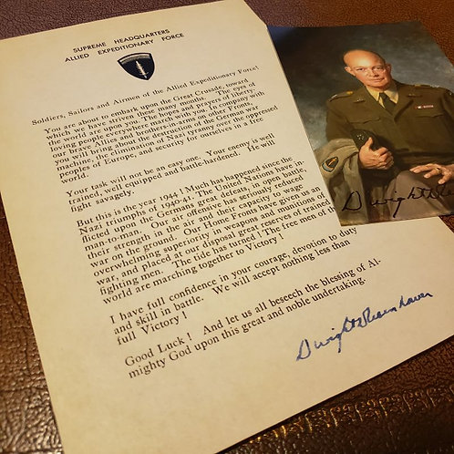 "'Order of the Day' on D-Day from the 1948 Eisenhower's book ""Crusade in Europe"" with signed photo."