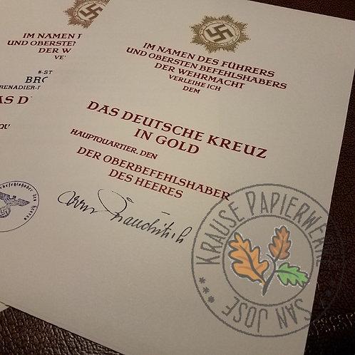German Cross in Gold (Deutsches Kreuz) - Official Award Certificate/Citation/Document (Urkunde) - early version - Brauchitsch