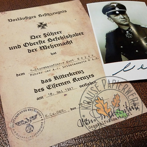 """Kurt """"Panzermeyer"""" Meyer - Knight's Cross preliminary certificate and signed photograph - reproductions"""
