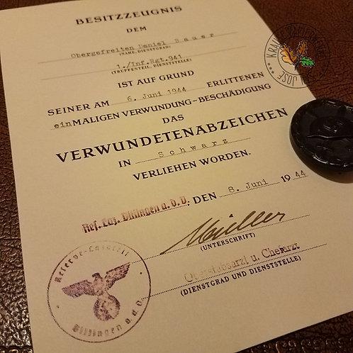 Would Badge award citation / document. Gold, Silver or Black. Verwundetenabzeichen Besitzzeugnis / Verleigungsurkunde  - late